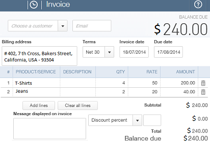 Create invoices with QuickBooks plugin