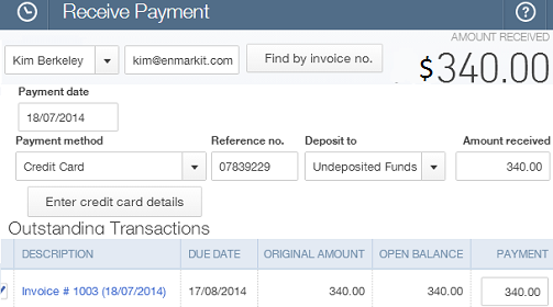 Receive Payments with QuickBooks plugin