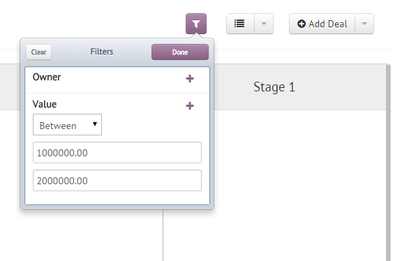 Deal Filters in Agile CRM
