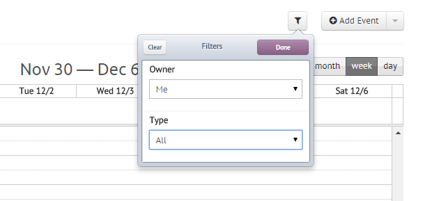 Event Filters in Agile CRM