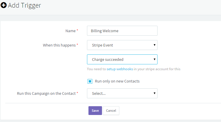 Stripe Event Trigger for Marketing Automation