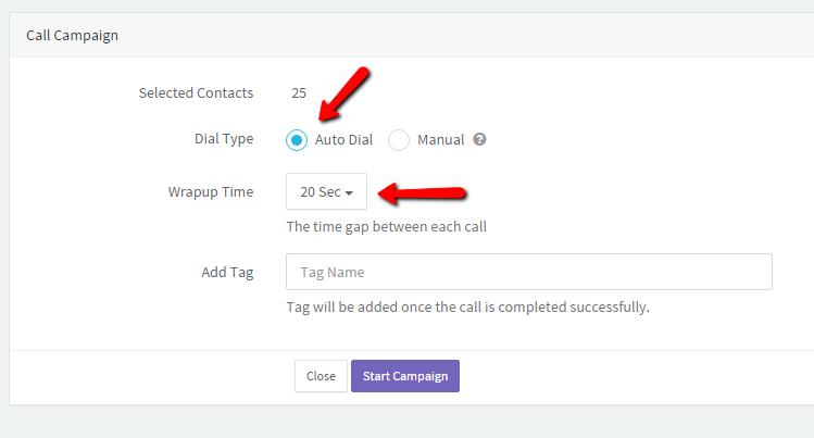 Call Campaign Setup in Agile CRM