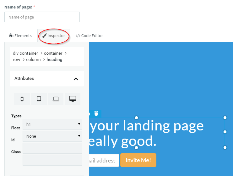Inspector Menu for Landing Pages