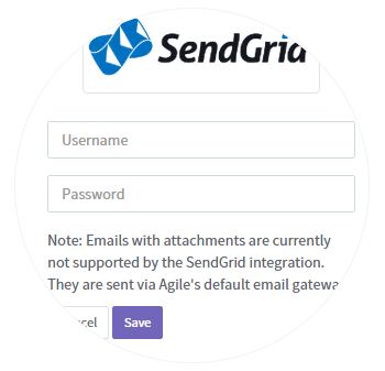 3. Enter SendGrid credentials and save