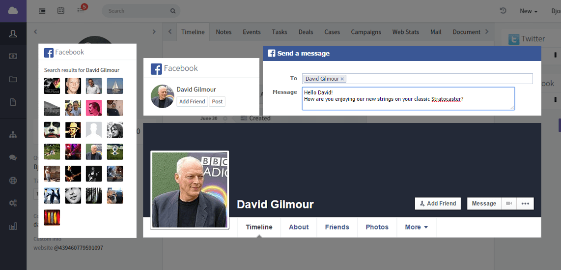 Facebook integration widget for CRM