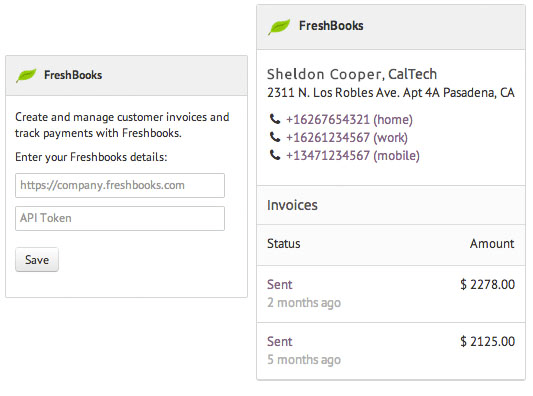 Freshbooks widget for CRM