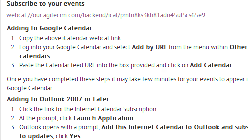 Link Agile Calendar Using WebCal Link