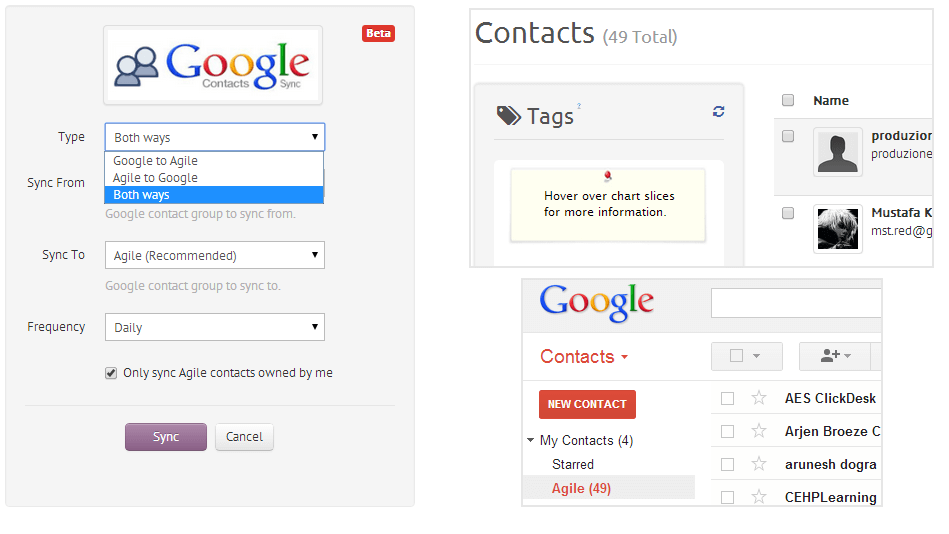 Google Apps contacts sync in Agile CRM