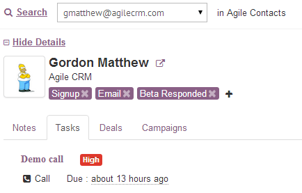 Agile CRM Gadget for Gmail