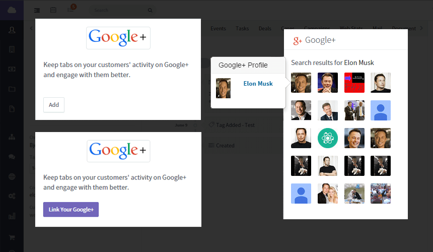 Google Plus widget for CRM