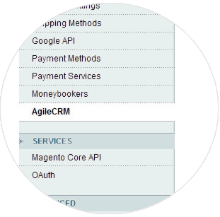 Click Agile CRM in the menu