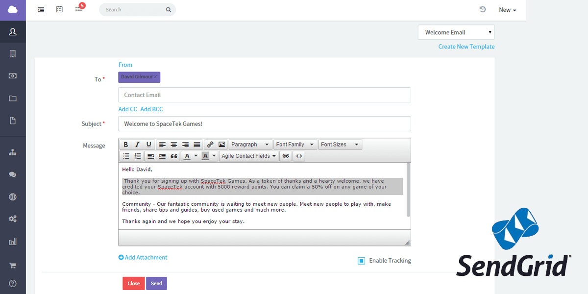 SendGrid integration for CRM