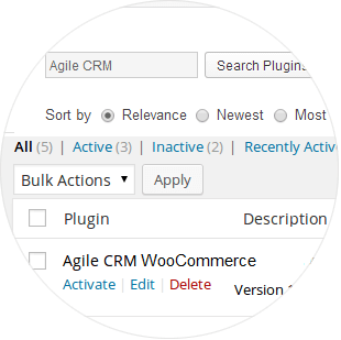 Install the Agile CRM WooCommerce Plugin