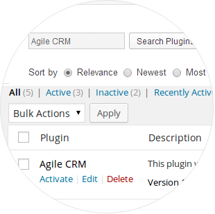 Install the Agile CRM WordPress Plugin