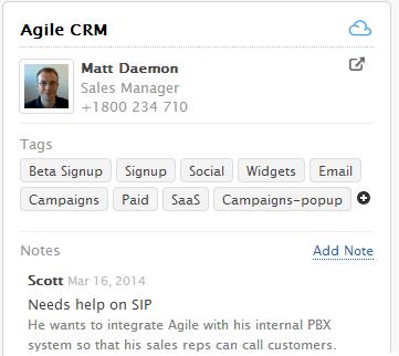 Agile CRM Widget