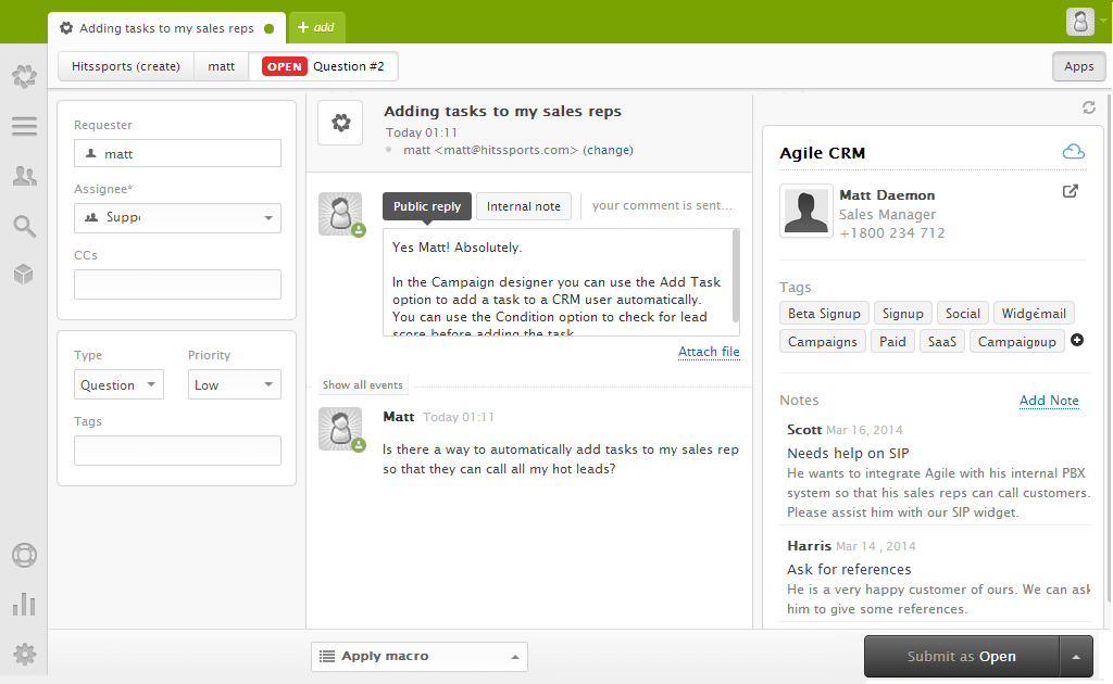 Agile CRM Zendesk Widget Contact Screenshot