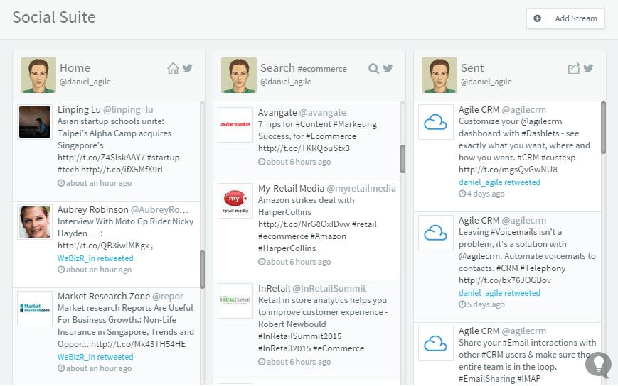 Twitter widget for CRM